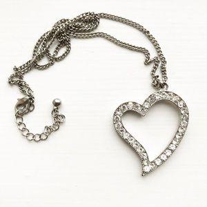 Silver & diamond heart cutout pendant necklace